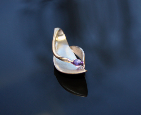 Spoon made ​​pendant, amethyst. 925 sterling silver.2011